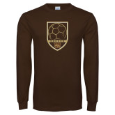 Brown Long Sleeve TShirt-Soccer Shield