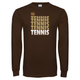 Brown Long Sleeve TShirt-Tennis Repeated