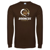Brown Long Sleeve TShirt-Tennis Abstract Ball