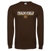 Brown Long Sleeve TShirt-Track & Field Flat w/ Bar