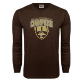 Brown Long Sleeve TShirt-2016 Marathon MAC Football Champions