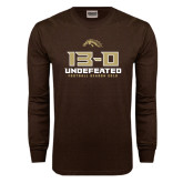 Brown Long Sleeve TShirt-13-0 Undefeated Football Season 2016