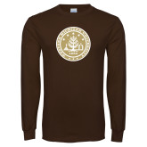Brown Long Sleeve T Shirt-WMU Seal Gold