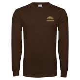Brown Long Sleeve TShirt-Broncos w/ Bronco Head