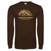 Brown Long Sleeve TShirt-Western Michigan University w/ Bronco Head