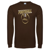 Brown Long Sleeve TShirt-WMU Football Slanted w/ Ball