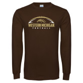 Brown Long Sleeve TShirt-Western Michigan Football Flat w/ Ball