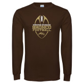 Brown Long Sleeve TShirt-Western Michigan Bronco Football w/ Ball