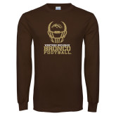 Brown Long Sleeve TShirt-Western Michigan Bronco Football w/ Helmet