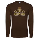 Brown Long Sleeve TShirt-Broncos Basketball Half Ball