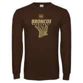 Brown Long Sleeve TShirt-Broncos Basketball Hanging Net