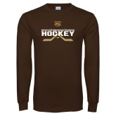 Brown Long Sleeve TShirt-Hockey w/ Crossed Sticks