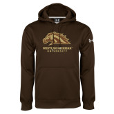 Under Armour Brown Performance Sweats Team Hoodie-Western Michigan University w/ Bronco Head