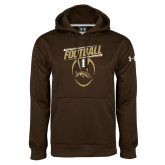 Under Armour Brown Performance Sweats Team Hoodie-WMU Football Slanted w/ Ball