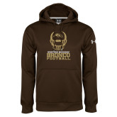 Under Armour Brown Performance Sweats Team Hoodie-Western Michigan Bronco Football w/ Helmet