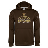 Under Armour Brown Performance Sweats Team Hoodie-Broncos Basketball Half Ball