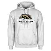 White Fleece Hoodie-Western Michigan University w/ Bronco Head
