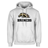 White Fleece Hoodie-Broncos w/ Bronco Head