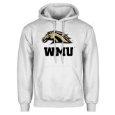 White Fleece Hoodie-WMU w/ Bronco Head