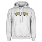 White Fleece Hoodie-Arched Western Michigan