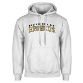 White Fleece Hoodie-Arched Western Michigan Broncos