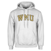 White Fleece Hoodie-Arched WMU