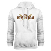White Fleece Hood-Row the Boat