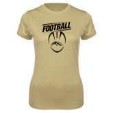 Ladies Syntrel Performance Vegas Gold Tee-WMU Football Slanted w/ Ball