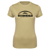 Ladies Syntrel Performance Vegas Gold Tee-Western Michigan Football Flat w/ Ball
