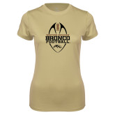 Ladies Syntrel Performance Vegas Gold Tee-Western Michigan Bronco Football w/ Ball