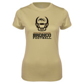 Ladies Syntrel Performance Vegas Gold Tee-Western Michigan Bronco Football w/ Helmet