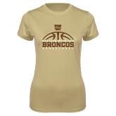 Ladies Syntrel Performance Vegas Gold Tee-Broncos Basketball Half Ball