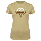 Ladies Syntrel Performance Vegas Gold Tee-WMU Soccer Half Ball