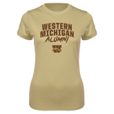 Ladies Syntrel Performance Vegas Gold Tee-Arched Western Michigan Alumni