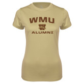 Ladies Syntrel Performance Vegas Gold Tee-Arched WMU Alumni
