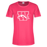 Ladies Performance Hot Pink Tee-W w/ Bronco