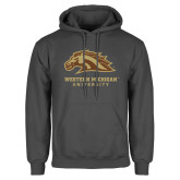 Charcoal Fleece Hoodie-Western Michigan University w/ Bronco Head