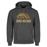 Charcoal Fleece Hoodie-Broncos w/ Bronco Head
