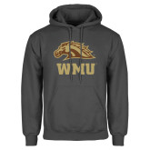 Charcoal Fleece Hoodie-WMU w/ Bronco Head