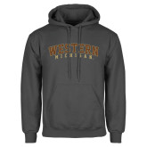 Charcoal Fleece Hoodie-Arched Western Michigan