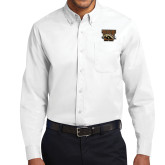 White Twill Button Down Long Sleeve-W w/ Bronco