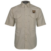 Khaki Short Sleeve Performance Fishing Shirt-W w/ Bronco