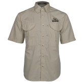 Khaki Short Sleeve Performance Fishing Shirt-Broncos w/ Bronco Head