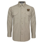 Khaki Long Sleeve Performance Fishing Shirt-W w/ Bronco