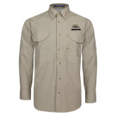 Khaki Long Sleeve Performance Fishing Shirt-Broncos w/ Bronco Head