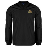 V Neck Black Raglan Windshirt-Broncos w/ Bronco Head
