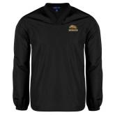 V Neck Black Raglan Windshirt-Broncos w/ Bronco Head