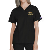 Ladies Black Two Pocket V Neck Scrub Top-Broncos w/ Bronco Head