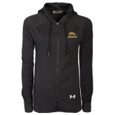 Ladies Under Armour Black Varsity Full Zip Hoodie-Broncos w/ Bronco Head