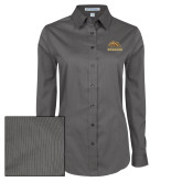 Ladies Grey Tonal Pattern Long Sleeve Shirt-Broncos w/ Bronco Head